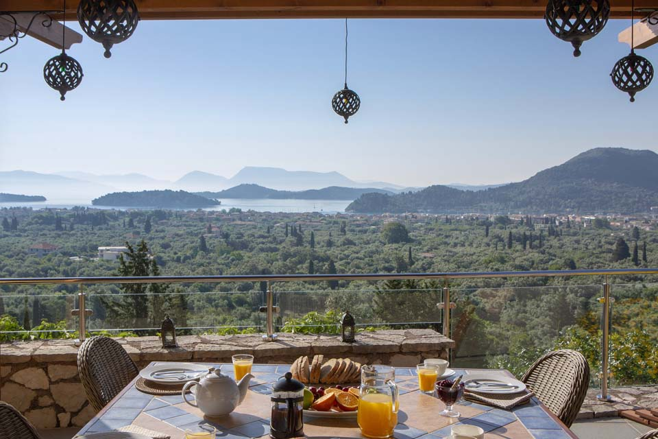 Breakfast at Villa Octavius overlooking the Ionian Islands