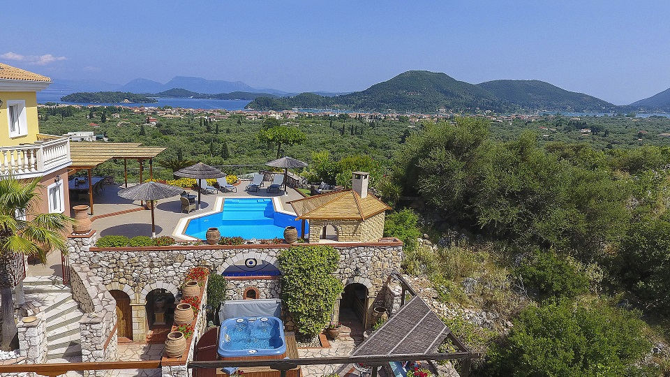 Villa Octavius pool, Jacuzzi and terraces with view out to Ionian islands