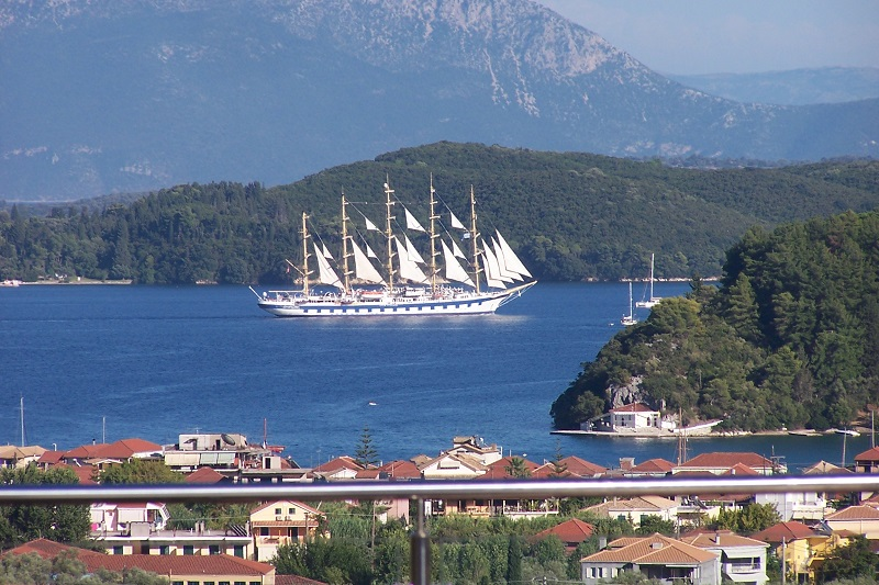 Royal Clipper viewed from the terrace of Villa Octavius