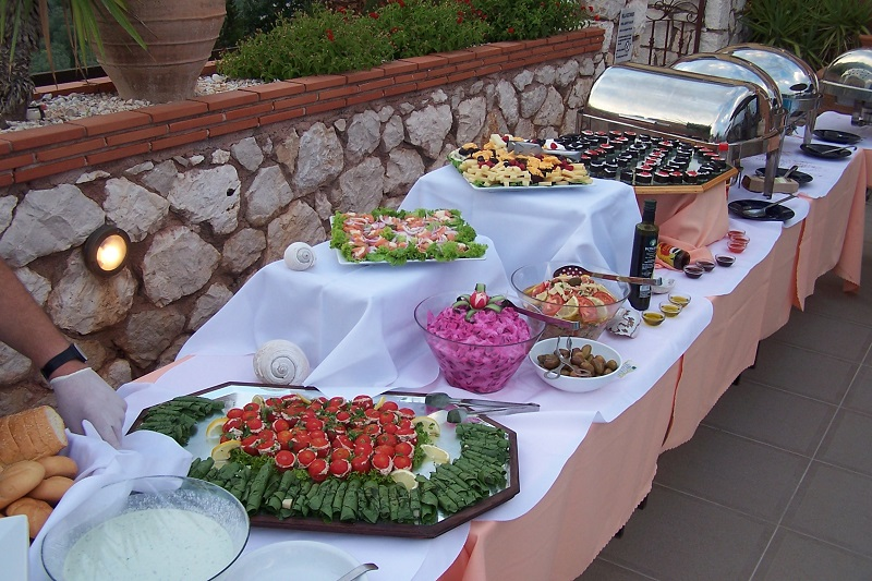 Wedding reception buffet at Villa Octavius